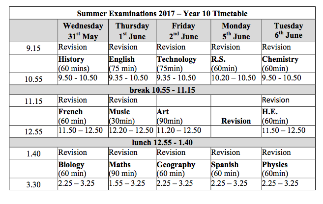 year 10 summer exam timetable
