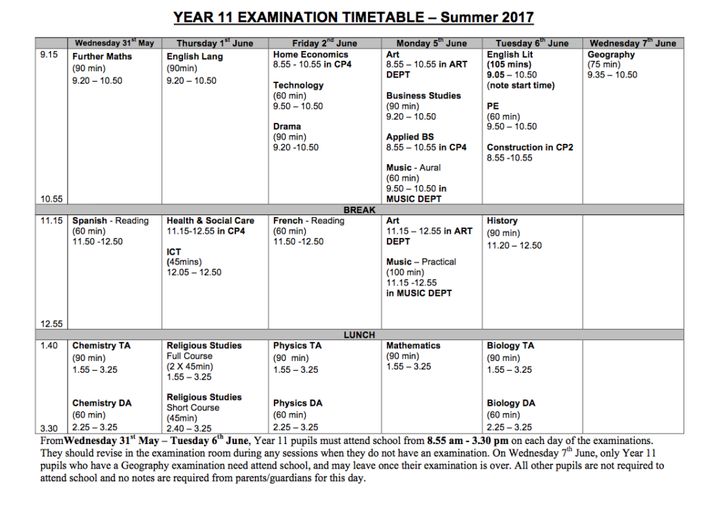 year 11 summer exam timetable