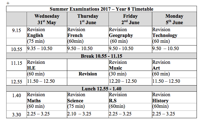 year 8 summer exam timetable