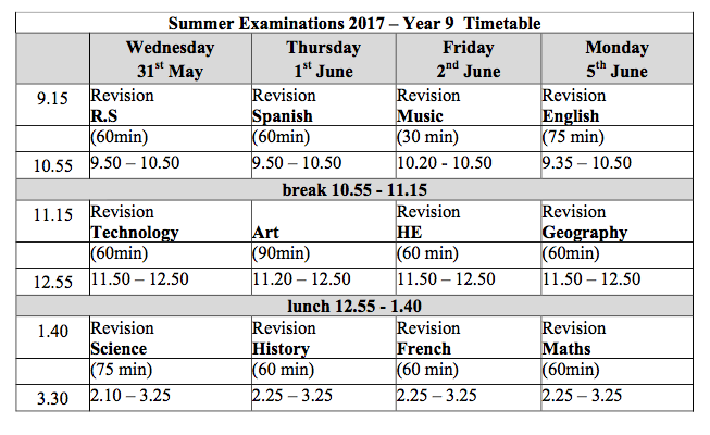 year 9 summer exam timetable