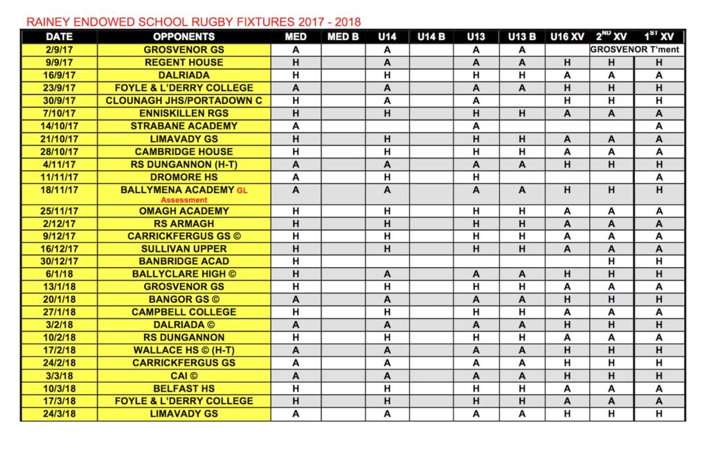 Rainey Endowed School Rugby Fixtures 2017-2018